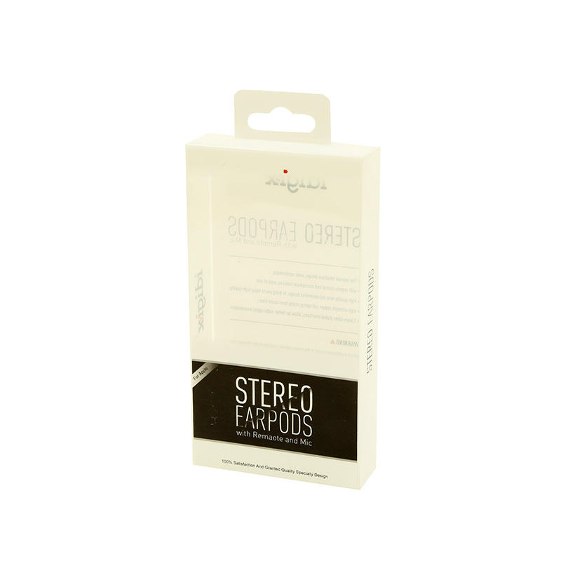 Clear PET Box Packaging with Logo Printed & Hanger Tab for Ear-pods