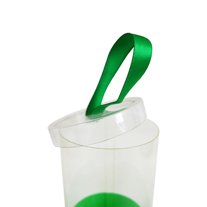Printed Plastic Cylinder Containers with Ribbon Lid for Gift & Craft