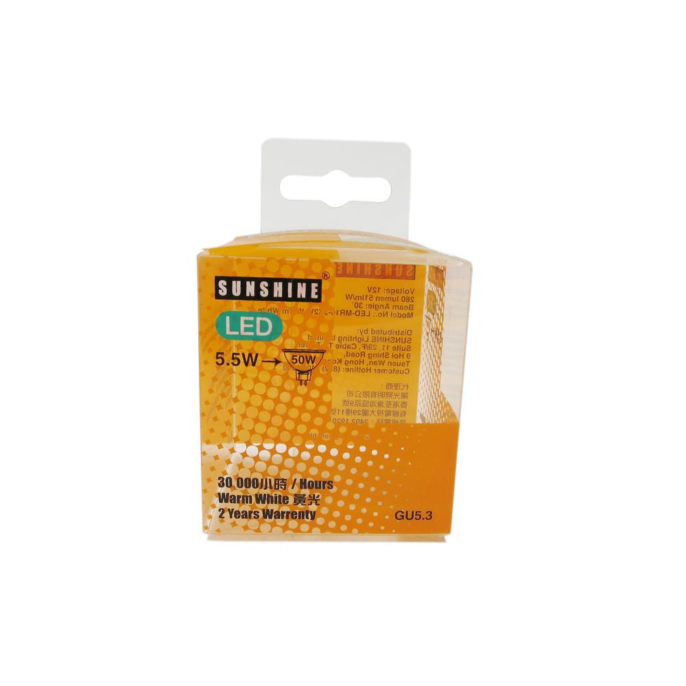 Retail Printing Plastic Packaging Box w/Hanger Tab for 5.5W LED Bulb