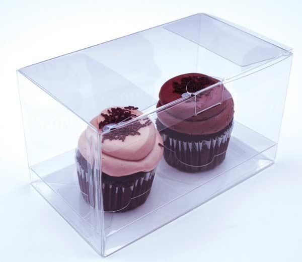 China Clear transparent  plastic folding cake cupcake box carton