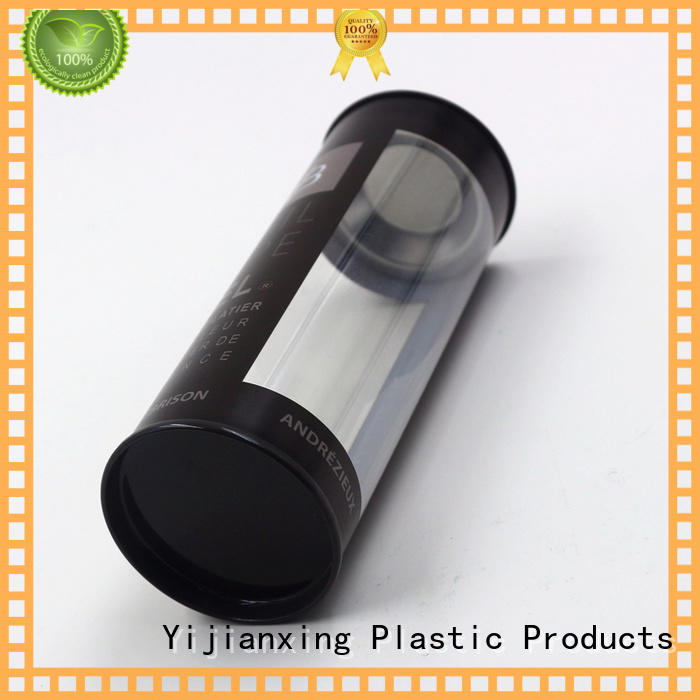 plastic Transparent cylinder packaging box clear with Iron cover cap